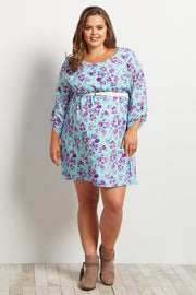 Mint Purple Floral Belted 3/4 Sleeve Plus Size Maternity Dress