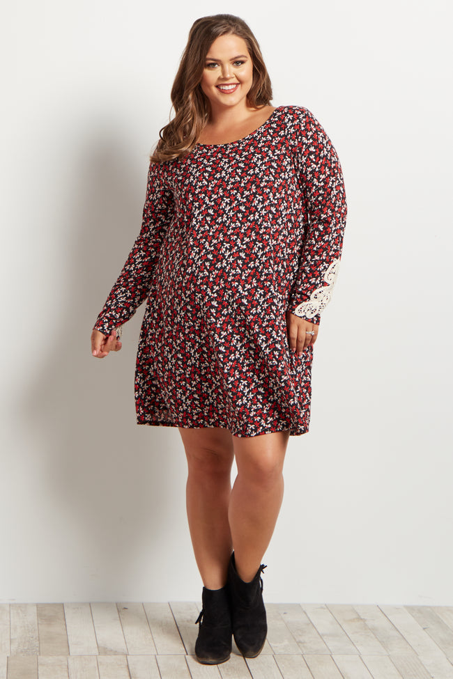 Red Floral Crochet Sleeve Plus Size Maternity Dress