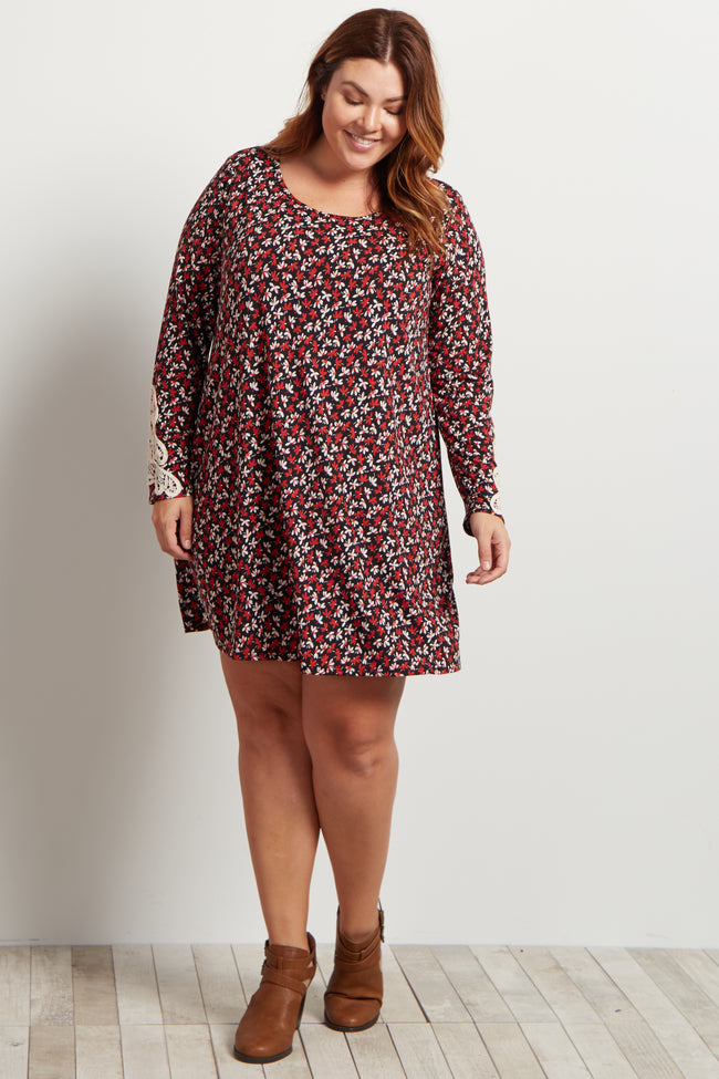 Red Floral Crochet Sleeve Plus Size Dress