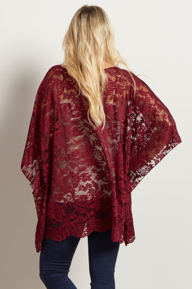 Burgundy Floral Lace Maternity Poncho Top