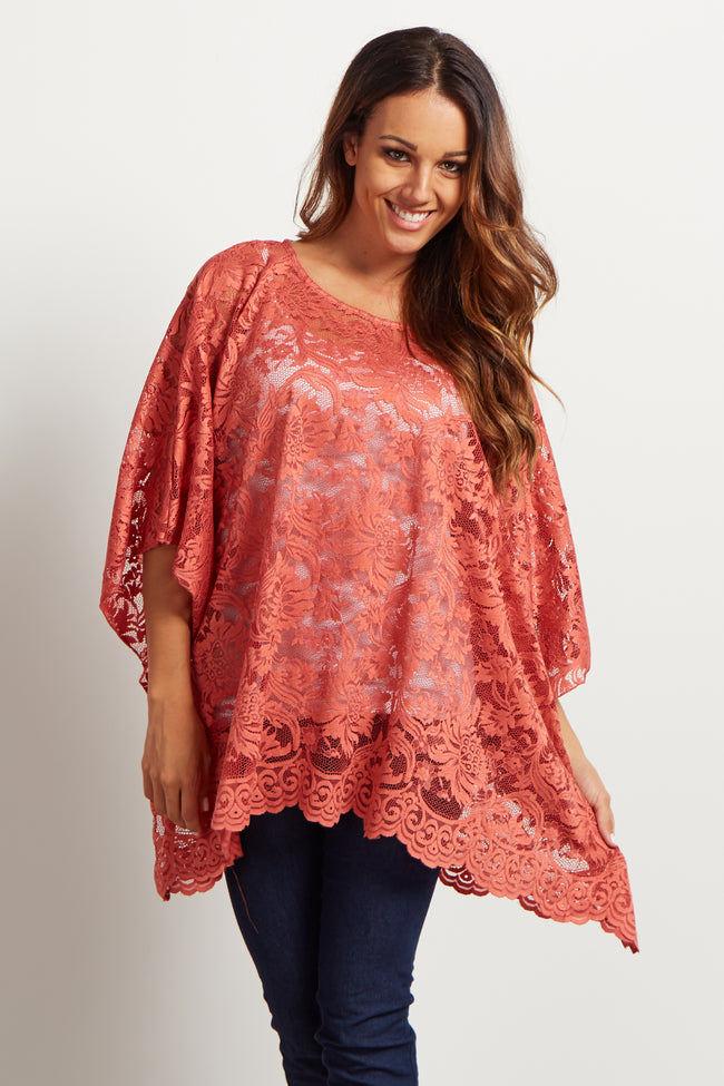 Rust Floral Lace Poncho Top