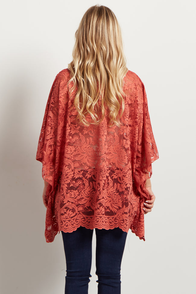 Rust Floral Lace Maternity Poncho Top