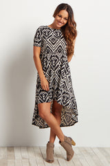 Black Diamond Printed Hi-Low Dress