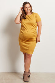 Yellow Fitted Plus Size Maternity Dress