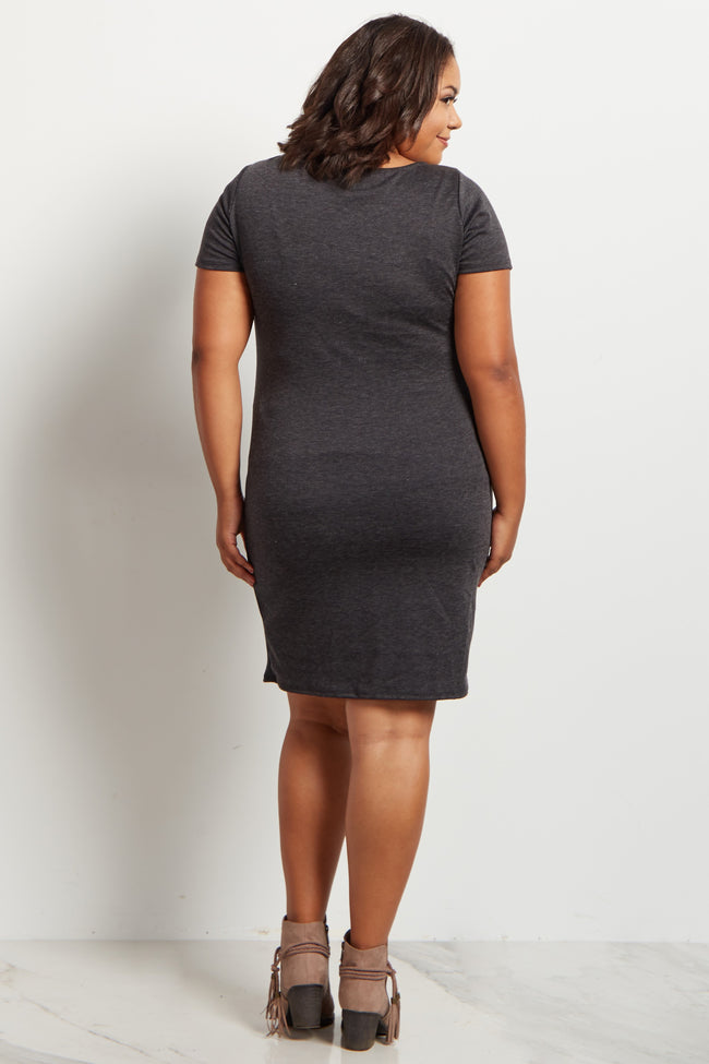 Heathered Charcoal Fitted Plus Size Maternity Dress
