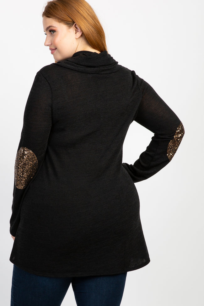 Black Sequin Accent Sleeve Plus Sweater