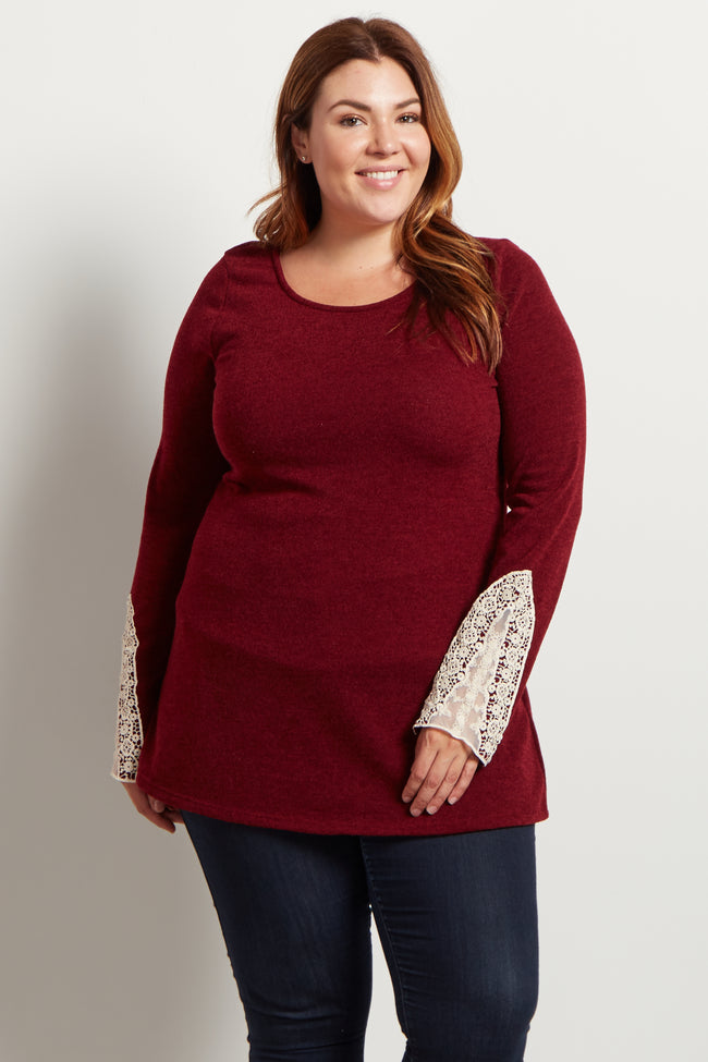 Burgundy Crochet Sleeve Knit Plus Size Top