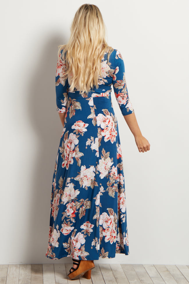 Navy Floral Maternity/Nursing Maxi Wrap Dress