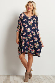 Navy Blue Floral Dolman Sleeve Maternity Dress