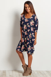 Navy Blue Floral Dolman Sleeve Dress