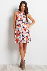 Coral Floral Button Front Maternity Dress