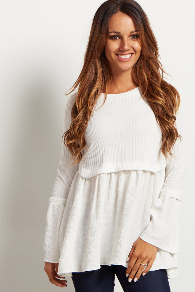Ivory Ribbed Peplum Long Sleeve Maternity Top