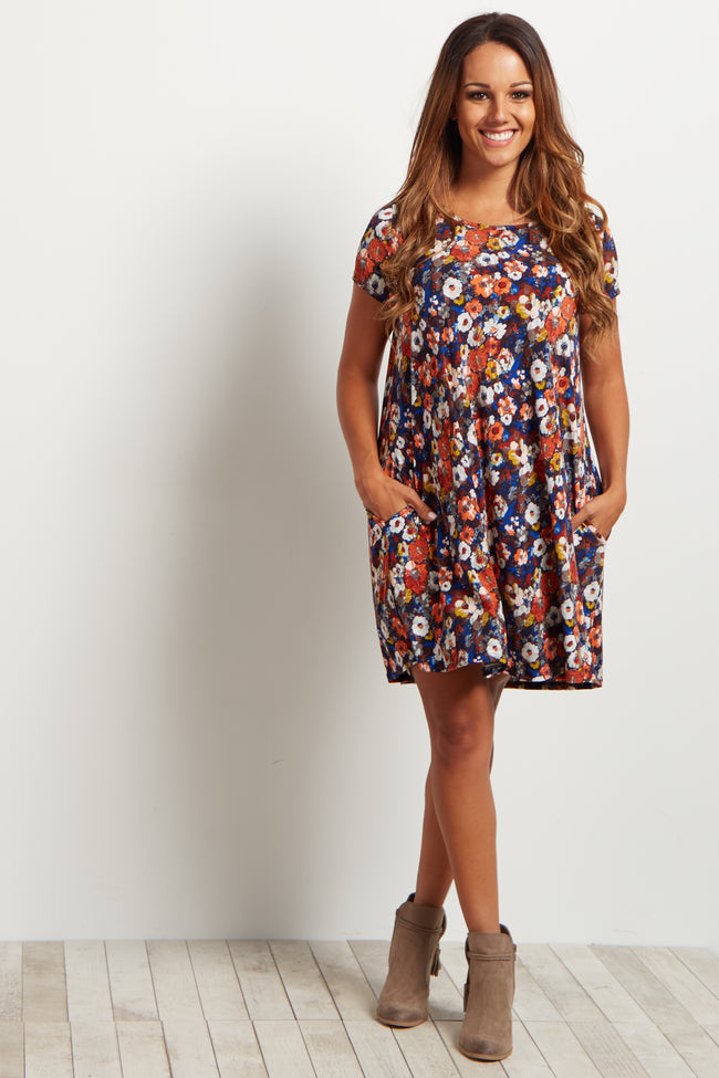 Blue Floral Short Sleeve Maternity Dress
