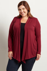 Burgundy Basic Plus Size Cardigan