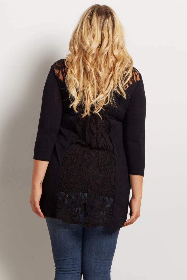 Black Lace Back Long Sleeve Plus Size Maternity Top