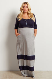 Grey Navy Striped Colorblock Plus Size Maternity Maxi Dress