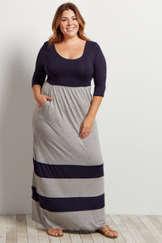 Grey Navy Striped Colorblock Plus Maxi Dress