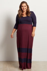Burgundy Navy Striped Colorblock Maternity Maxi Dress
