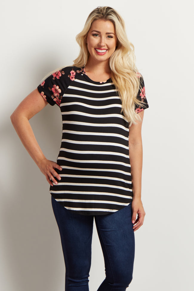 Black Striped Floral Sleeve Maternity Top