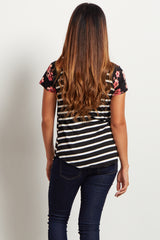 Black Striped Floral Sleeve Top