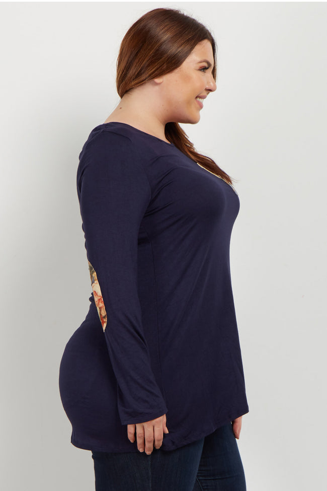 Navy Floral Elbow Patch Plus Top