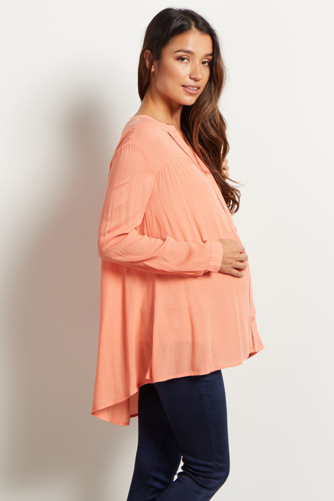 Coral Cutout Accent V-Neckline Maternity Blouse