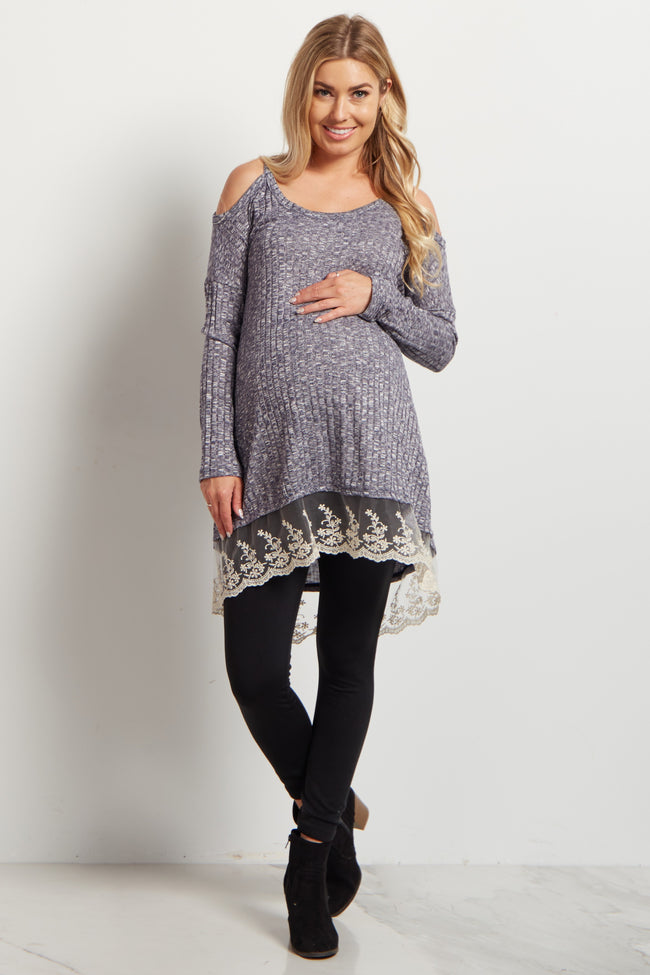 Slate Cold Shoulder Lace Trim Maternity Top