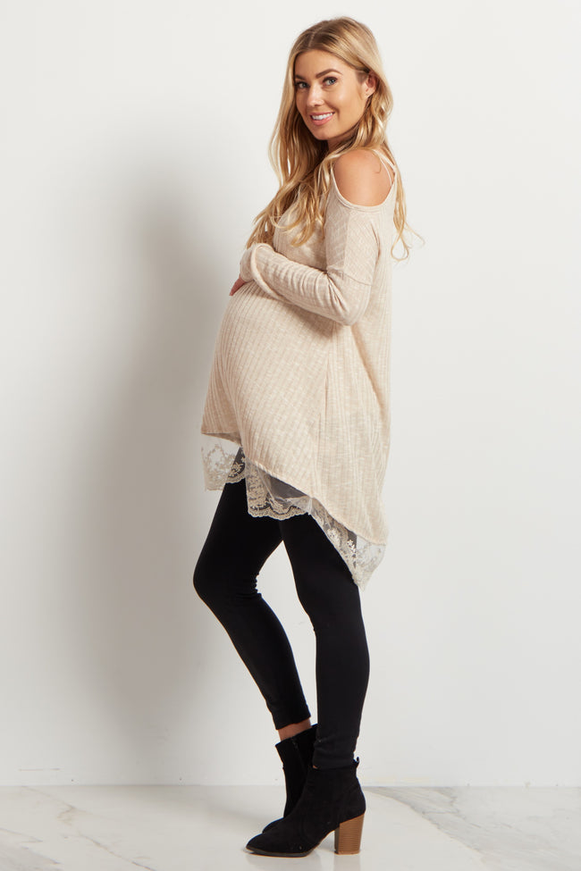 Taupe Cold Shoulder Lace Trim Maternity Top