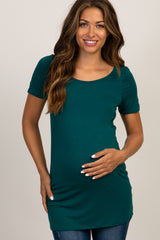 Green Basic Short Sleeve Maternity Tee