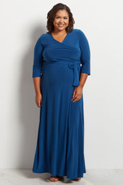Teal Draped 3/4 Sleeve Plus Size Maternity Maxi Dress