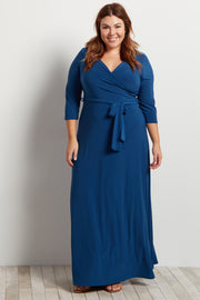 Teal Draped 3/4 Sleeve Plus Size Maxi Dress