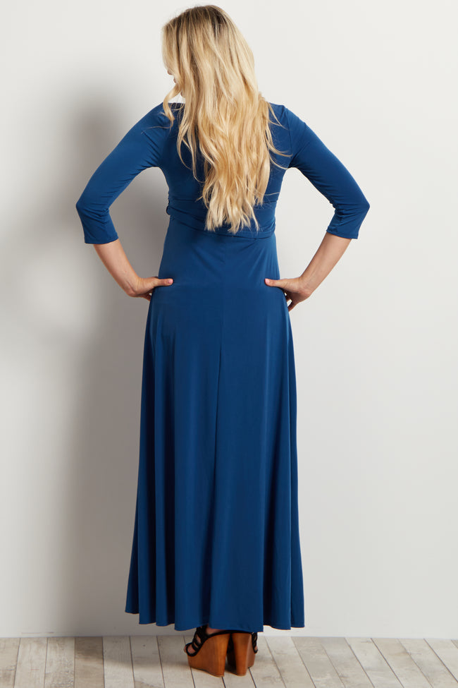 Teal Draped 3/4 Sleeve Maternity Maxi Dress