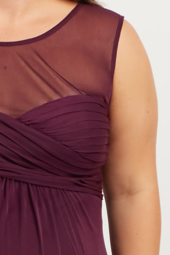 Plum Mesh Neckline Ruched Bust Plus Maternity Evening Gown