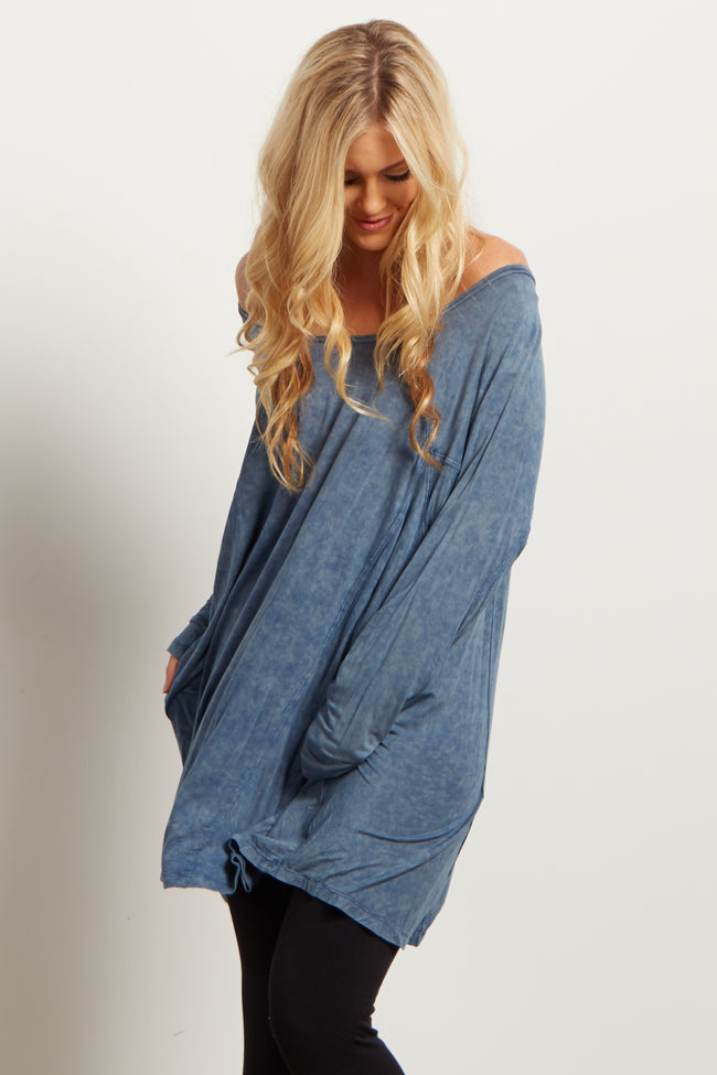 Blue Faded Long Sleeve Top