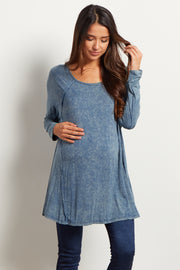 Blue Faded Long Sleeve Maternity Top