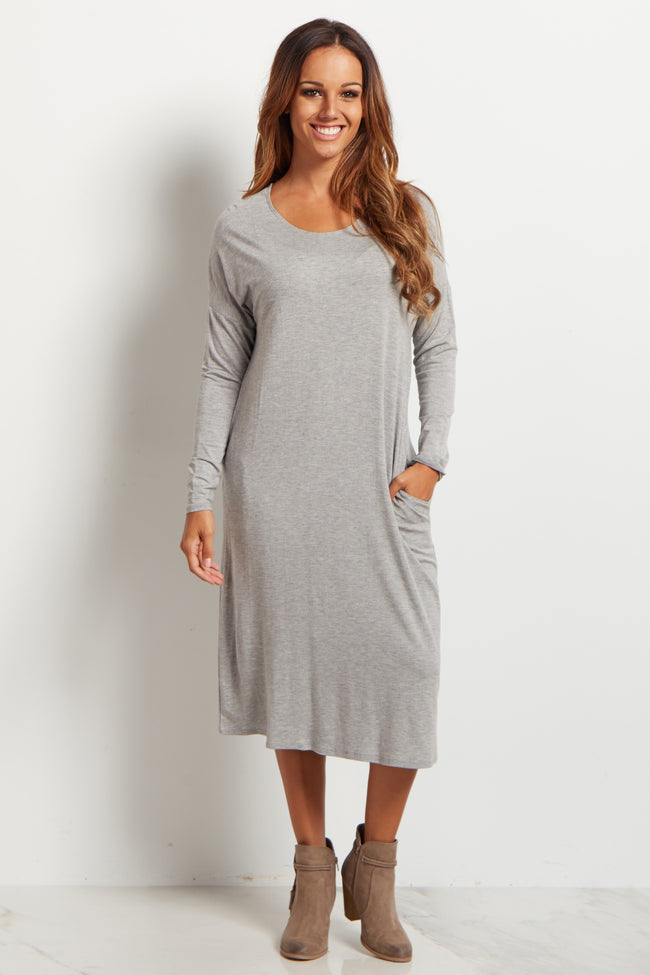 Grey Basic Long Sleeve Midi Dress