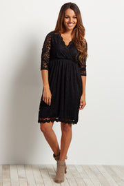 Black Lace Overlay Wrap Dress