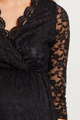 Black Lace Overlay Wrap Maternity Dress