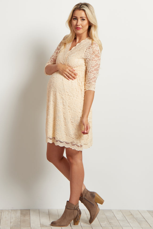 Beige Lace Overlay Wrap Maternity Dress