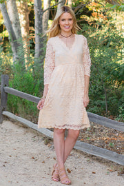 Beige Lace Overlay Wrap Dress