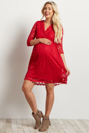 Red Lace Overlay Wrap Maternity Dress