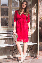 Red Lace Overlay Wrap Dress
