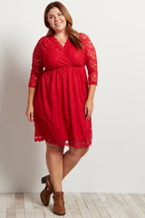 Red Lace Overlay Plus Size Wrap Dress