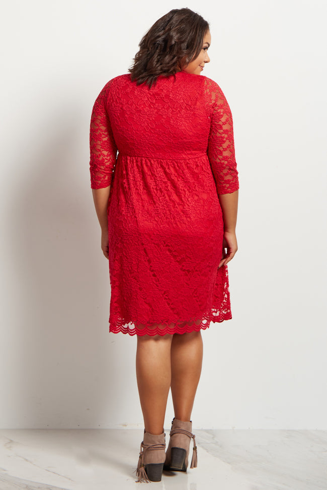Red Lace Overlay Wrap Plus Size Maternity Dress