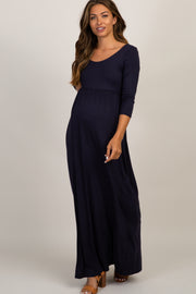 Navy 3/4 Sleeve Maternity Maxi Dress