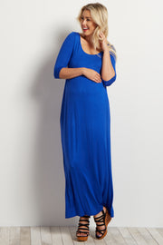 Royal 3/4 Sleeve Maternity Maxi Dress