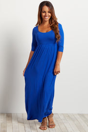 Royal 3/4 Sleeve Maxi Dress