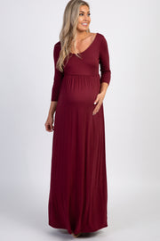 PinkBlush Burgundy 3/4 Sleeve Maternity Maxi Dress