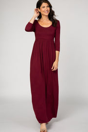 PinkBlush Burgundy 3/4 Sleeve Maxi Dress