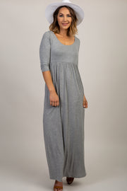Grey 3/4 Sleeve Maxi Dress
